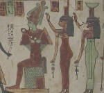Nephthys en Isis achter Osiris, stèle RMO, foto: Petra Lether